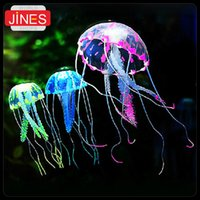Wholesale Ship Aquarium Ornaments - 5 pieces lot Free Shipping Aquarium Fish Jar Box Tank Ornament Decoration Beauty Artificial Glowing Jellyfish