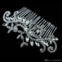 Wholesale Rhinestone Hair Comb Wedding - Diamond jewelry Leaf Crystal Imitation Rhinestone Bridal Tiaras Hair Combs Hairpin Wedding Hair Accessories Hair Jewelry