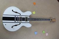 Wholesale Delonge Guitar - Hollow Tom Delonge ES-333 White Electric Guitar black stripes white ES 333 electric guitar