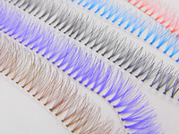 Wholesale Eyelash Extensions C 12mm - Wholesale 10 Lines 12mm Colorful Individual Eyelash Extension Natural Long Flare Blue Red False Eyelashes Makeup Tool Freeshipping