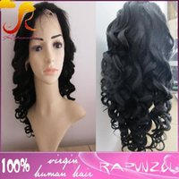 Wholesale Super Cheap Ombre Hair - Factory cheap price top quality off black #1B super wave brazilian human hair lace front wig in stockno shedding no tangle