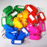 llaveros de plástico al por mayor-100 unids Crystal Plastic Key ID Etiquetas Etiquetas Tarjeta Anillo Dividido Llavero Llavero Nueva Llegada Surtido Rojo Rosa Verde Azul Amarillo