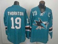 Wholesale Xxl Name Brand Shirts - Sharks #19 Joe Thornton Teal New Style Hockey Jerseys Name Number Sewn On High Quality Discount Ice Hockey Uniform Brand Sports Shirts