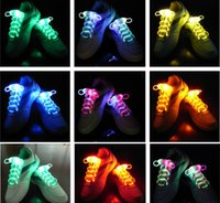Wholesale Laser Shoe Laces Wholesale - 200pcs=100Pairs LED Flashing Shoelace Light up Shoe Laces Laser Shoelaces Fashionable Jump Change Shoe lamp laces Fedex