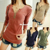 Wholesale Khaki Girl Bottoms - Hot Selling 2014 Fashion t-shirt women V-Neck shirt long sleeve Bottoming Shirt Top Girls Casual shirt B003 38