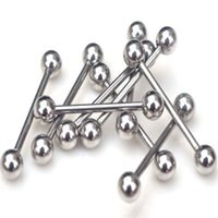 Wholesale Tongue Ear Stud - Wholesale-Mix Wholesale 10Pcs lot 316L Surgical Stainless Steel Ball Tongue Rings Piercing Ear Stud Rings Body Jewelry Piercing Tougue