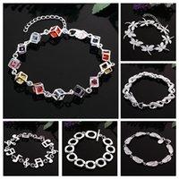ingrosso braccialetti d'argento personalizzati per le donne-Braccialetti con braccialetti per donna Braccialetti con braccialetti per donna Braccialetti con braccialetti infiniti personalizzati 925 Bracciali con braccialetti in argento 925 a forma di stella