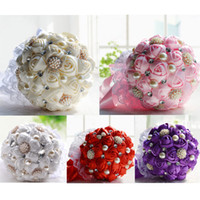 Wholesale Cream Bridal Flowers - High Quality Cream Pink Purple Red 4 Colors Bridal Hand Holding Flowers Wedding Decoration Bouquet Artificial Bridesmaid Flower 2015