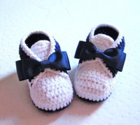 Wholesale White Crochet Style Baby Shoes - 2015 Classic Tuxedo Style Crochet Cotton Baby Booties -- 9 10 11cm, handmade toddler shoes,knit cheap shoe10pairs lots 0-12M cotton
