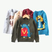Wholesale Kids Panda Sweater - 30 Style Boys Girls INS Fox Panda monsters sweater 2017 new children ins cotton Long Sleeve Sweaters Pullover kids clothes B001