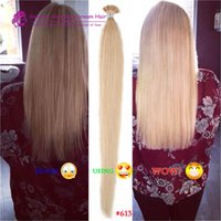 Double Drawn Human Human Silky Straight Blonde Keratin Stick I Tip Pre Bonded Micro Fusion Hair Extensions i tip extensions de cheveux 1g