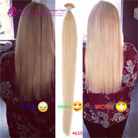 Wholesale Double Drawn 1g Hair Extensions - Double Drawn Human Human Silky Straight Blonde Keratin Stick I Tip Pre Bonded Micro Fusion Hair Extensions i tip hair extensions 1g