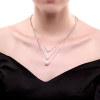 Wholesale Three Pearl Pendant - 925 Sterling Silver Necklace Three pearls for women High quality creative all-match romantic fashion clothing accessories