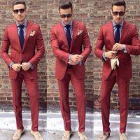 ingrosso argento ruggine-Moda Rust Mens Abiti Slim Fit Sposo Smoking di usura di nozze Economici Due pezzi Custom Made Suit (Jacket + Pants)