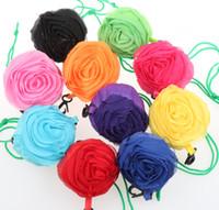 Wholesale Colors Vegetables - MIC 10 Colors Pretty Rose Foldable Eco Reusable Environmental Shopping Bags 39.5cm x38cm 10 Colors