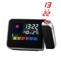 Wholesale Mini Projector Digital Clock - Wholesale Digital LCD Screen LED Projector Alarm Clock Snooze Alarm Clock Mini Desktop Clocks Multi-function Weather Station Drop shipping