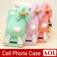 Wholesale Iphone Case Cover Bunny - For iPhone 6 6s Plus 5s 5 4s 3D Cute Milan Bunny Buck Teeth Rabbit Rubber Soft Silicone Gel Case Phone Cover
