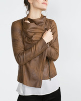 Wholesale Women Genuine Leather Jacket Large - Wholesale- 2015 fall winter women's Genuine Vintage Brown Faux Suede Overshirt Pointed Open Large Lapel Collar Long Sleeved Jacket 2969 240