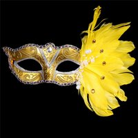 Wholesale Gold Venice Mask - New plastic with feather 4 colors women's elegant masquerade party masks Venice coloured drawing or pattern feather mask