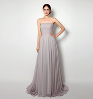 Wholesale stock strapless chiffon wedding dress for sale - Grey Bridesmaids Dresses Long Floor Strapless Pleats Chiffon Cheap Bridesmaid Dress In Stock For Women Formal Occasion Wedding Party Gowns
