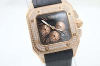 Wholesale Time Diamonds Watches - hot sale men luxury brand Golden Diamond bezel Quartz watches with three zone steel Men's watches