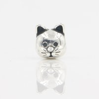 Wholesale Jewelry Store Free Shipping - Free Shipping 100% 925 Sterling Silver Rhodium Plating Lovely Animal Jewelry Silver Cat Chram for Pandora Bracelet Lucky Sonny Store LB-18