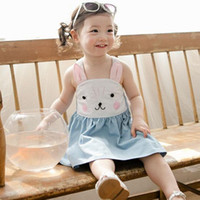 Wholesale Rabbit Print Dress - 2016 Summer new girls pure cotton suspender bunny dress baby girl rabbit slip denim blue princess dress for 2-8years choose size free ship