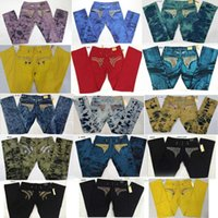 Wholesale Size 32 Men Pants - New Robin Jeans Men EMBELLISHED JEANS Straight Denim Green Blue Cowboy Famous Brand Slim Embroided Designer Men Pants Size 32-42