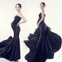 Wholesale maternity clothes free shipping for sale - Group buy New Maternity Photography Props clothing for pregnant women Mermaid Dress Pregnancy black Romantic set Princess