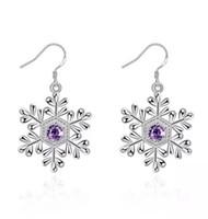 Wholesale christmas earrings online - Trendy Noble Amethyst Snowflake Charm Dangle Earrings For Women Plated Sterling Silver Earings Zircon Diamond Christmas Gift