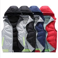Wholesale Long Hooded Down Vests - Autumn Winter Men's Sport Waistcoat Outwear Thick Warm Down Vest Jacket Men's Coat Jacket Windbreaker Plus Size L-4XL