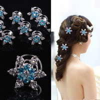 Wholesale Clamps Bride - FROZEN Women wedding jewelry hair clips Elsa snowflake hair clips bride girl shiny diamond screw clamp hairpin COSPLAY party Barrettes