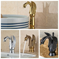 Wholesale brushed chrome mixer resale online - And Retail Luxury Solid Brass Bathroom Basin Faucet Swan Style Vanity Sink Mixer Tap Deck Mounted Hot And Cold Mixer