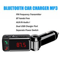 Wholesale Dual Frequency - 2015 NEW bluetooth car charger BT hands free car charger MP3 BC06 mp3 player mini dual port AUX FM Frequency transmitter free DHL