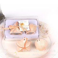 Wholesale Seashells Salt Pepper Shakers - Free shipping wedding favors 200 pieces lot wholesale beach style Seashell and Starfish Salt and Pepper Shakers party gifts 1203#03