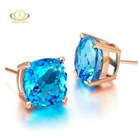 Wholesale Cut Aquamarine - Wholesale 18K rose gold plated 925 Silver AAA checkerboard cut aquamarine synthetic Blue Topaz earring for women
