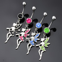 Wholesale Stainless Steel Winged Ring - Fashion Korean Style Stainless Steel Rhinstones Wings Angle Belly Button Rings Navel Ring Body Piercing Jewelry 4 Colors for choices