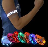 Wholesale flashing led armbands - LED Safety Reflective Armband Zebra Print Bicycle Flashing Sports Arm Band LED Flash Strap Warning Night OOA3741