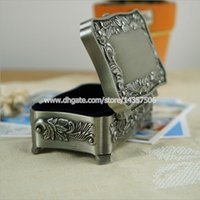 Wholesale Gift Jewelry Boxes Metal - Vintage Rose Carving Rectangle Metal Jewelry Storage Box Antique Alloy Princess Trinket Box Wedding Favors Gifts