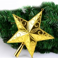 Wholesale Christmas Tree Star Top - Christmas Tree Top Star Xmas Plastic Pentagram Decoration Party Decorate Ornament Santa Trees Accessories Five-pointed Stars Topper 6pcs lot