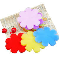 Wholesale Flower Shaped Fruit - Silicone Tableware Brushs Originality Flower Shape Fruit Vegetable Brush For Kitchen Multi Function Cleaning Tool Colourful 3 5sp C