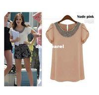 Wholesale Womens Xl Beaded - Womens Retro Round Neck Hand Beaded Ruffle Shoulder Collar Chiffon Blouse Shirts