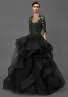 couture formal dresses Canada - Exquisite Beading Lace Black Evening Dresses 2018 Tulle Puffy Ball Gown Formal Gowns Long Prom Dresses Custom Made Couture Celebrity Dress