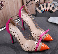 Wholesale Sexy Orange High Heel Sandals - Crystal Rivet Transparent Pointed High Heels Women Pumps Sexy Wedding Shoes Summer Sandals 2015 3 Colors size 35 to 40