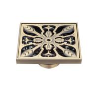 blumen 3mm großhandel-Luxus Antiken Messing Blume Bodenabläufe Badezimmer Dusche Bodenablauf Sieb 3 MM-Thick Panel 10 * 10 cm