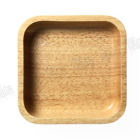 Wholesale Wood Salad - household creative natural rubber wood wooden square bowl bowls fruit meal bread salad bowls tableware dinnerware
