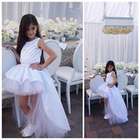 Wholesale Satin Wedding Dress Hi Lo - 2016 White Flower Girls Dresses for Weddings A-Line Hi-Lo Pageant Dresses For Girls Tulle and Satin Girls Birthday Party Dresses
