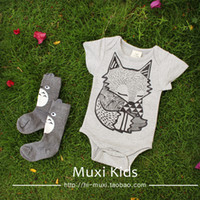 Wholesale Baby Girl Romper Cheap - wholesale 2015 summer hot selling cheap fashion baby girls cartoon fox short sleeve romper