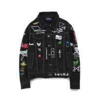 Wholesale Japanese Fashion Coats - Tide Brand Men's Denim Jackets Fashion of Spring and Autumn Japanese System Graffiti Maker All-match Printing Blackblue Tassel Handsome Coat