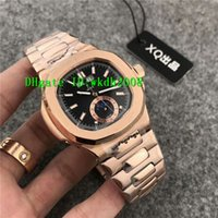 Wholesale Luxury Moonphase - Luxury Nautilus Automatic Mechanical Moonphase Date Day Black Dial Rose Gold Mens Watch 5726 1A-001 Transparent Sapphire Man watches